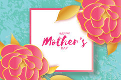 Mothers Day Greeting card. Women`s Day. Paper cut pink gold Peony flower. Origami Beautiful bouquet. Square frame. text. Happy Mothers Day. Gold Pink Floral royalty free illustration