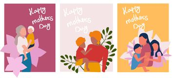 Mothers day  greeting cards set vector illustration