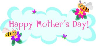 Mother's Day Greetings by Cute Bees Royalty Free Stock Images