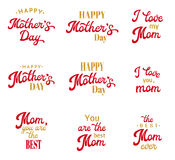 Mothers Day Hand Lettering Inscriptions Set. Mothers Day Hand Lettering Calligraphic Inscriptions Set. Red and gold Emblems and Badges Collection  on White Royalty Free Stock Image