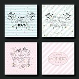 Mothers day hand made font postcards set Stock Photos