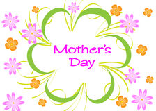 Mothers Day. Happy Mothers Day Flowers with green lines on white background Stock Images