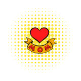 Mothers Day Heart with ribbon icon, comics style Stock Photos