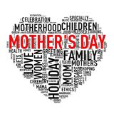 Mothers day heart shape tag wordcloud vector illustration