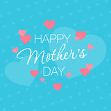 Mothers Day. Hearts on a blue background with a greeting. Mothers Day. Hearts on a blue background with a greeting vector illustration