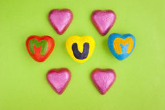 Mother's Day hearts and chocolates. Stock Photography
