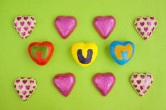 Mother's Day hearts and chocolates. Stock Image