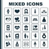 Mothers Day Icon Design Concept. Set Of 25 Such Elements As Fragrance, Relations And I Love Mom. Beautiful Symbols For. Mothers Day Icon Design Concept. Set Of Royalty Free Stock Photography