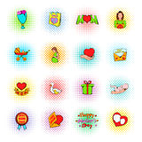 Mothers Day icons, comics style Royalty Free Stock Image