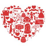 Mothers day icons in heart shape Stock Photos