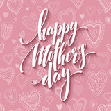 Mothers day lettering card with pink seamless background and handwritten text message. Vector illustration Stock Images