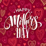 Mothers day lettering card with red seamless background and handwritten text message. Vector illustration Royalty Free Stock Photography