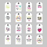Mothers Day Lettering On Tags Set Isolated Background Happy Mom Holiday Cards Collection. Vector Illustration Royalty Free Stock Photo