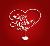 Mothers Day logo on red background with hanging hearts. Vector illustration Royalty Free Stock Photography