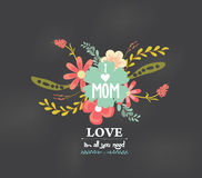 Mothers day with love florals greeting card Royalty Free Stock Images