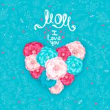 Mothers Day mom i love you. Happy Mothers day. Inscription MOM I love you. A big heart made of decorative flowers of roses on a turquoise background with floral vector illustration