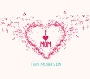 Mothers day music elementsand greeting card Royalty Free Stock Image