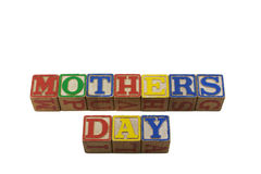Mothers day in old alpabet blocks Royalty Free Stock Photo