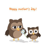 Mothers day owl. /Cute illustration of happy mother and kid owl isolated on white Stock Image