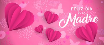 Mothers day paper art web banner in spanish. Happy mothers day web banner illustration in spanish language with paper art heart shape decoration and spring Royalty Free Stock Images