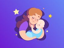 Mothers day paper illustration. Mom keeps a sleeping son. Royalty Free Stock Image