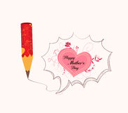 Mothers day with pencil drawing love heart bubble card Stock Photos