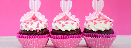 Mothers Day pink and white cupcakes Social Media Banner Royalty Free Stock Images