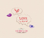 Mothers day poster with bird and bubble greeting card Royalty Free Stock Photos