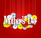 Mothers Day poster with hanging letters on red background with flowers Stock Image