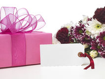 Mothers Day. Present and flowers Royalty Free Stock Photo