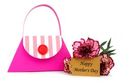 Mothers Day purse gift bag with flowers over white Royalty Free Stock Image