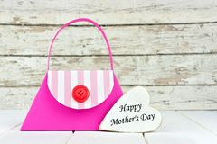 Mothers Day purse gift bag with heart tag Stock Photo