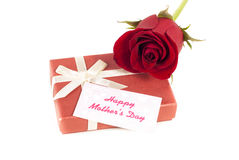 Mothers day. Red rose gift box with a mothers day card stock photo