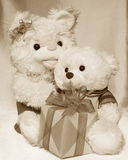 Mothers Day retro card : Teddy Bears - Stock Photo. Mothers Day retro Card - Teddy Bears : mother and son with gift box Stock Photos