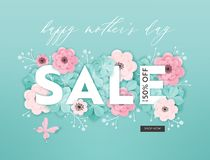 Free Mothers Day Sale Design. Spring Promo Discount Banner Template With Paper Cut Flowers For Flyer, Poster, Voucher Advertising Stock Image - 142926371