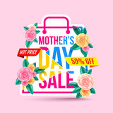 Mothers Day Sale 50% Discount with beautiful flower for Banners. Flyers,Posters, Brochure,Invitation and Voucher Discount and Hot Price.Vector illustration EPS Royalty Free Stock Images