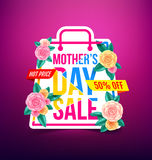 Mothers Day Sale 50% Discount with beautiful flower for Banners. Flyers,Posters, Brochure,Invitation and Voucher Discount and Hot Price.Vector illustration EPS Stock Images