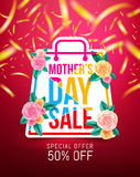 Mothers Day Sale 50% Discount with beautiful flower for Banners. Flyers,Posters, Brochure,Invitation and Voucher Discount and Hot Price.Vector illustration EPS Stock Photography