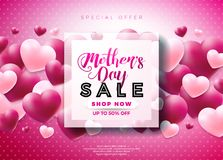 Mothers Day Sale Greeting card design with flower and typographic elements on abstract background. Vector Celebration. Illustration template for banner, flyer Royalty Free Stock Images