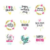 Mothers Day Set Of Beautiful Hand Drawn Lettering Signs Isolated On White Background Royalty Free Stock Image
