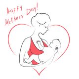 Mothers Day. Silhouette of a girl with a baby in her arms. Young and beautiful woman. Happy motherhood. Frame in the form of heart royalty free illustration