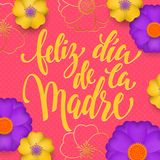 Mothers Day in Spanish greeting card of red flowers pattern and gold text Feliz dia de la Madre. Vector floral pink background for Stock Photos