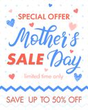 Mothers Day special offer. Mothers Day sale banner perfect for prints,flyers,cards,promos,advertising and more.Vector promotion card Stock Photography