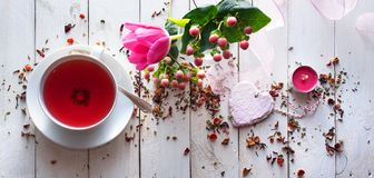 Mothers Day Still Life With Tea Stock Photos