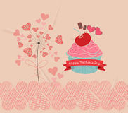 Mothers day sweet love with cupcake retro background Stock Photo