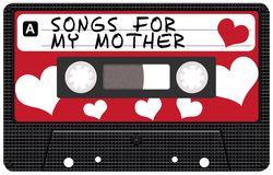 Mothers Day Tape. Retro Cassette Tape With Songs For My Mother Sign royalty free illustration