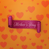 Mothers Day Text ob purple greeting scroll Ribbon Stock Photos