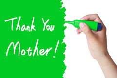 Mothers Day Thank You. Greeting with green marker Royalty Free Stock Images