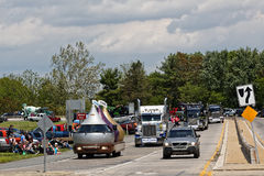 Mothers Day Truck Convoy in Lancaster Pennsylvania. LANCASTER PA - MAY 14 2017: Make-A-Wish Foundation sets a new record for the largest truck convoy. On the Royalty Free Stock Images