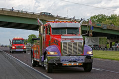 Mothers Day Truck Convoy in Lancaster Pennsylvania. LANCASTER PA - MAY 14 2017: Make-A-Wish Foundation sets a new record for the largest truck convoy. On the Stock Photos